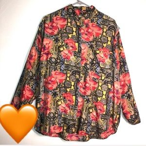 Tops - Vintage Tribal Floral  Button Up Silk Shirt